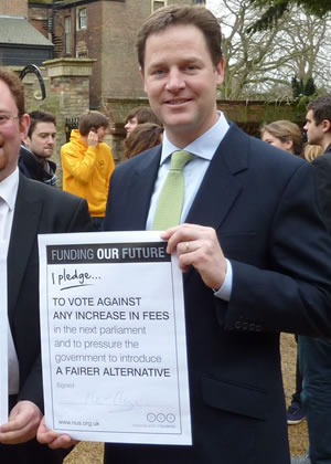 Clegg making his pledge to abolish tuition fees